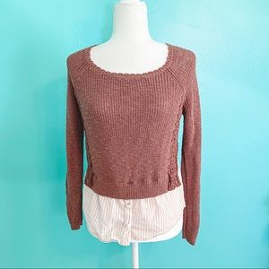 Anthropologie MOTH Rust Layered Sweater Top XS